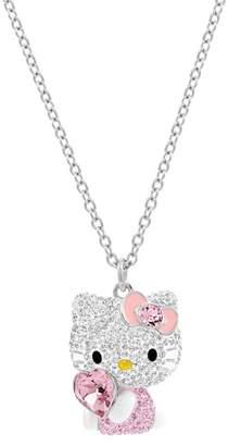 Swarovski Heart Pave Crystal Hello Kitty Pendant Necklace