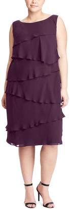 Chaps Plus Size Tiered Georgette Sheath Dress