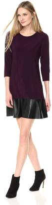 Tiana B Women's 3/4 Sleeve Knit Swing Dress with Faux Leather Hem
