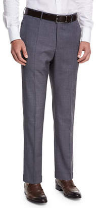 Incotex Micro-Check Wool Straight-Leg Trousers