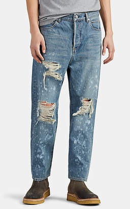 Balmain Men's Destroyed Straight Carrot-Leg Jeans - Lt. Blue