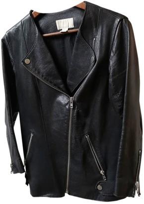 H&M Studio Studio Black Leather Leather Jacket for Women