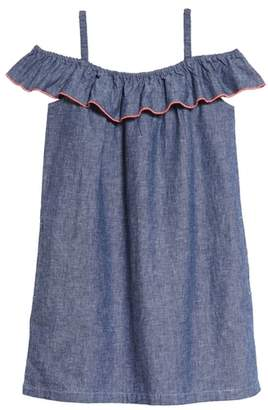Tea Collection Chambray Ruffle Neck Dress