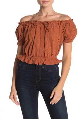 Angie Embroidered Eyelet Off-the-Shoulder Crop Top