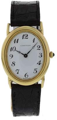 9029.21 18K Yellow Gold & Leather Manual Vintage 28mm Womens Watch