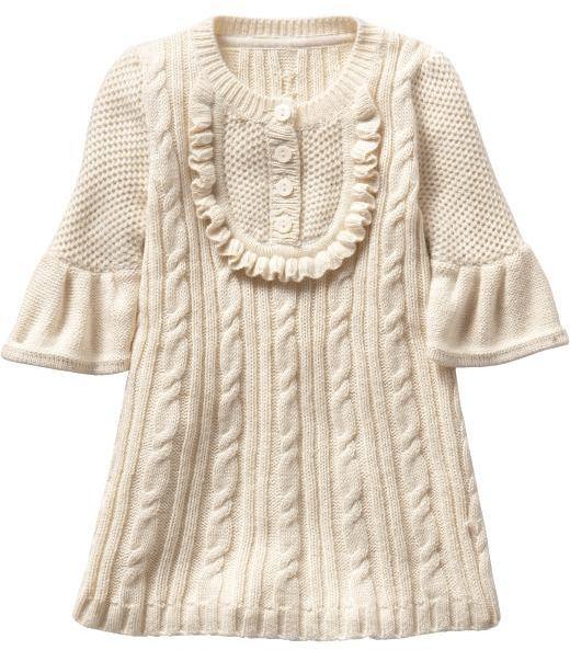 Gap Ruffle cable knit sweater dress