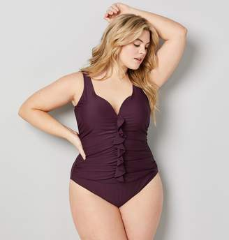 Avenue Plus Size Ruched Ruffle Sweetheart Swimsuit