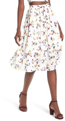 Women's Leith High Waist Print Midi Skirt $55 thestylecure.com