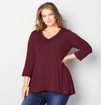 Avenue Solid V-Neck Swing Top