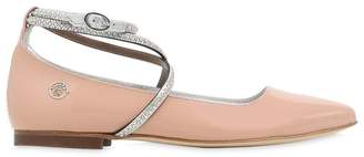 Miss Blumarine Embellished Patent Leather Ballerinas