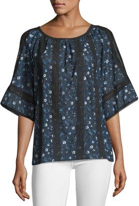 T Tahari Floral-Print Lace-Inset Blouse $69 thestylecure.com