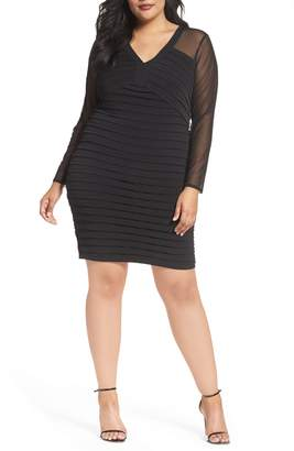 London Times Shutter Pleat Jersey Skeath Dress
