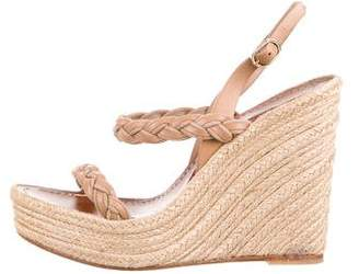 Valentino Braided Leather Espadrille Wedges
