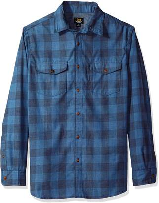 Lee Men's Long Sleeve Heathered Button Down Shirt