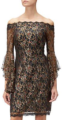Adrianna Papell Metallic Lace Short Dress, Black/Gold