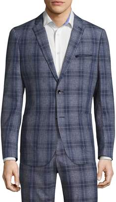 Paisley & Gray Men's Slim Patch Pocket Plaid Formal Jacket