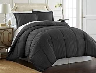 SPIRIT LINEN HOME 3PC Reversible Satin Stripe Down Alternative Comforter Set