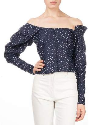 Magda Butrym Vannes Off-the-Shoulder Polka-Dot Fitted Top