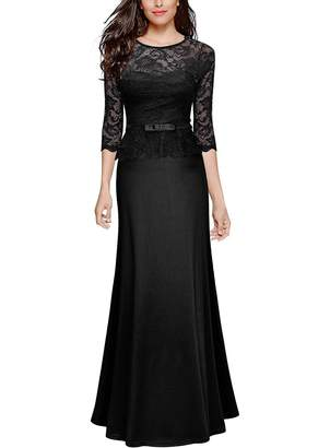 Anxihanee Women's Retro Floral Lace 2/3 Sleeve Slim Peplum Evening Wedding Party Long Maxi Dress (L, )