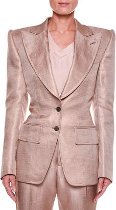 Tom Ford Metallic Twill Two-Button Jacket with Strong Shoulders