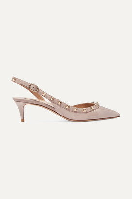 Valentino Garavani The Rockstud 50 Patent-leather Slingback Pumps - Antique rose