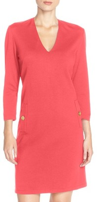 Women's Eliza J Button Pockets Ponte A-Line Dress $138 thestylecure.com