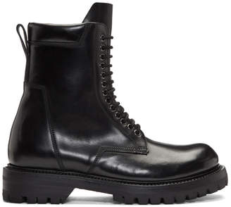 Rick Owens Black Leather Low Army Boots
