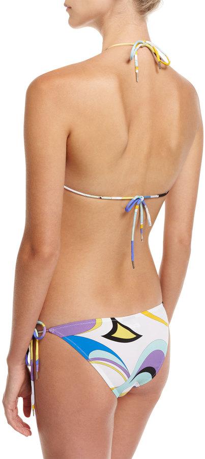 Emilio Pucci Maschere Two-Piece String Bikini, White Pattern 3
