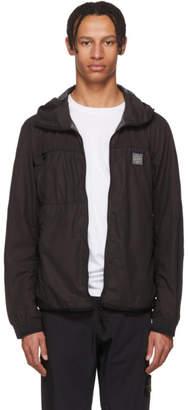 Stone Island Black Nylon Hooded Jacket