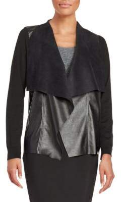 MICHAEL Michael Kors Faux Leather-Trimmed Cardigan