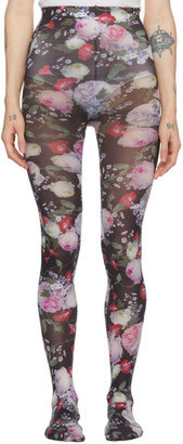 Erdem Black and Multicolor Printed Tights