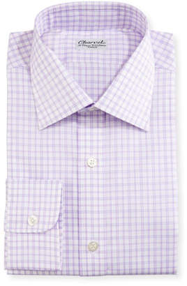 Charvet Check Dress Shirt, Purple/White