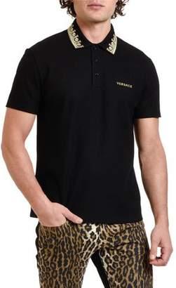 Versace Men's Pique Polo Shirt with Embroidered Collar