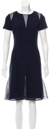 Oscar de la Renta Mesh-Accented Wool Dress