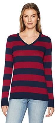 c46ef8abee56 Amazon Essentials Women s Lightweight V-Neck Stripe Sweater