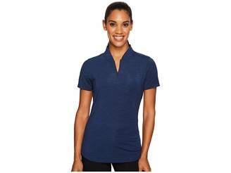 Under Armour Golf Threadborne Mock Polo Shirt Women's Short Sleeve Knit