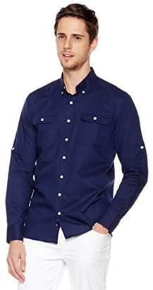 Isle Bay Linens Men's Long Sleeve Two Pockets Woven Linen Cotton Blend Work Shirt Standard Fit XXX-Large Navy