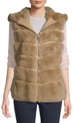Made For Generation Dyed Rex Rabbit Fur Hooded Vest