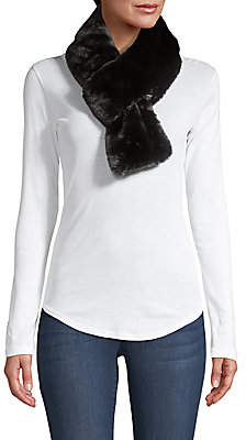 Adrienne Landau Women's Faux-Fur Pull-Through Short Scarf