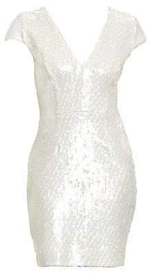 Dress the Population Women's Zoe Cap Sleeve Sequin Dress