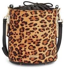 Aldo Leopard Print Leather Bucket Bag