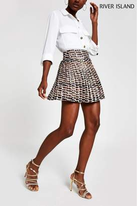 River Island Womens Brown Print Chain Pleat Mini Skirt - Brown