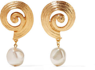 Oscar de la Renta Gold-plated Faux Pearl Clip Earrings
