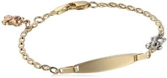 14k Gold Tri-Color Teddy Bear Baby ID Bracelet