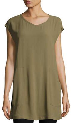 Eileen Fisher V-Neck Silk Georgette Crepe Tunic w/ Pockets, Petite
