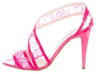 Brian Atwood Lace Patent Leather-Trimmed Sandals