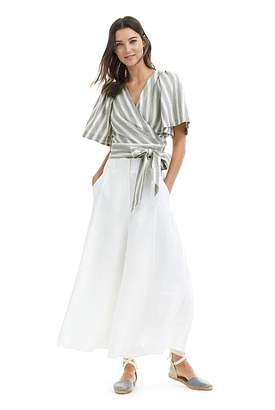 Country Road Stripe Linen Wrap Top