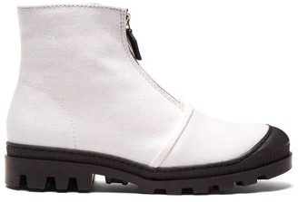 Loewe Zip Up Linen Boots - Womens - White