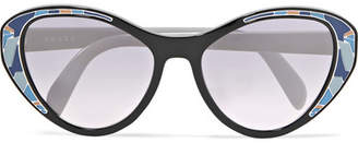Prada Cat-eye Acetate Mirrored Sunglasses - Blue