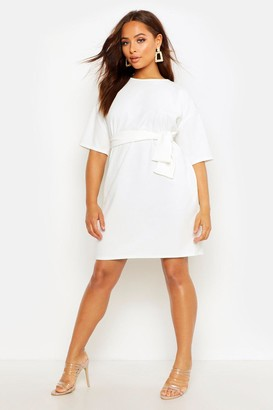 boohoo Structured Tie Belt Waist Shift Dress